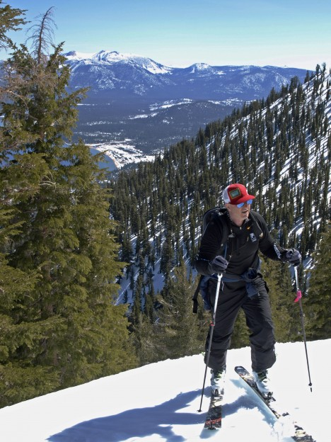 Start Haus Owner Jim Schaffner skinning up Hidden Peak on Tahoe's west shore.